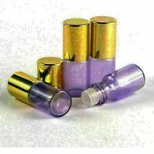 10pcs 5ml Purple Glass Roll On Bottles Glass Roller Ball Essential Oils Gold Cap