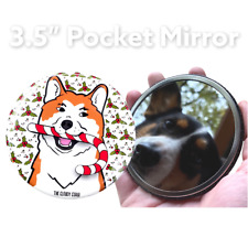 Akita Dog Candy Cane Christmas Holiday Pocket Mirror Gift Accessories