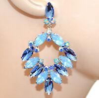 BOUCLES d'oreilles femme cristaux bleus célestes pendentifs strass élégant BB7