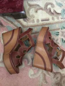 Fiorentini + Baker Rust Lattice Leather Boho Wedges ~ Size 38 = US 8 Retail 550+
