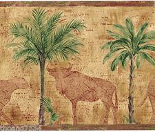 Palm Tree Elephant Leopard Safari Animals Map Burgundy Tan Gold Wallpaper Border
