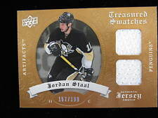 2008 09 Artifacts Jordan Staal dual jersey card  Penguins  #ed 157 / 199