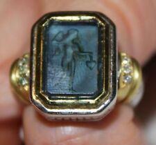 $1400 NEW Judith Ripka 6 Diamond 18K Gold Silver Newport Ring Women Holiday Gift