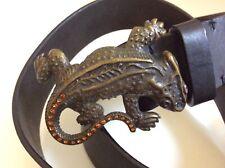 emporio armani leather mens belt lizard buckle Swarovski crystals stones