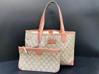 Authentic GUCCI Tote Bag GG Star PVC Leather Brown E-1212