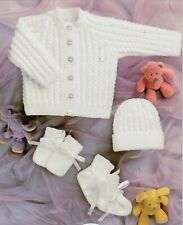 BC023 KNITTING PATTERN BABY CARDIGAN AND HAT CABLE PATTERN 4 PLY SIZE 12 - 22 IN