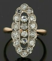 Antique 14K 2-tone gold amazing 1.40CTW VS diamond cluster cocktail ring size 5
