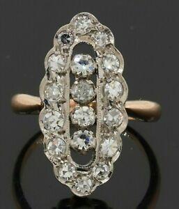 Antique 14K 2-tone gold amazing 1.40CTW VS diamond cluster cocktail ring size 5
