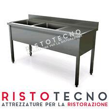 Lavatoio lavello lavabo a 2 vasche + sgocciolatoio 140x60x85h. Acciaio inox