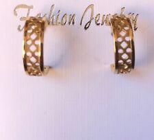 Hoop Filigree Design Post Earrings Vintage 1970's Fashion Jewelry Goldtone
