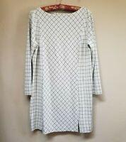 J. Jill Ponte Women's Boat Neck blouse. Grey w Grids Plaid Tunic Top Size Small.