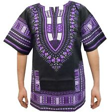 Dashiki Shirts African Mens Tops Hippie Ethnic Caftan Unisex Blouse Black Purple