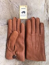Men's winter  Peccary Leather Gloves with Rabbit fur lining Cognac Cork Black