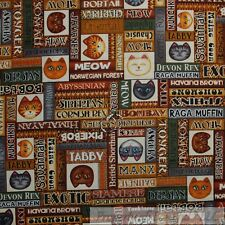 BonEful Fabric Cotton Quilt Brown Cat Breed Block Country Girl Hello Kitty SCRAP