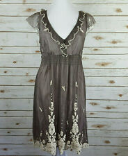 Anthropologie Lithe Laurel Run Dress Size 8 Taupe Tulle & Embroidery Romantic