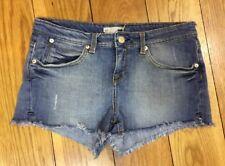 Topshop Moto Ladies Denim Shorts 12 W30 Stretchy Dark Blue Wash Summer Holiday