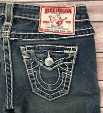 True Religion Billy Super T Straight Low Rise Heavy Stitch Jeans Size 30x32 Mint