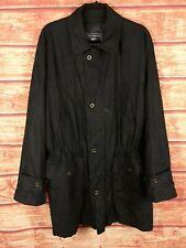 Vintage Burberrys Women's Black Zip-Up Button Coat Parka Jacket Size L XL 2XL