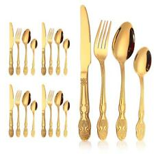 20 Pcs European Gold Accent 18/10 Stainless Flatware / Cutlery 5 PLACE SETTINGS