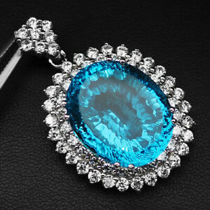 Apatite Paraiba Blue Concave Oval 29 Ct. 925 Sterling Silver Pendant Jewelry