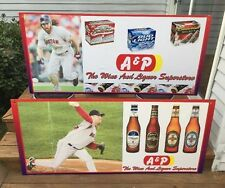 """Huge 60"""" X 27"""" A&P Supermarket 2004 Red Sox Beer Promo Signs (pair) Damon Shill!"""