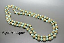 Vintage Marvella green peking glass beaded gold-tone necklace
