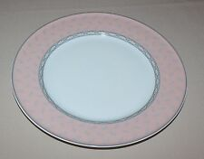 Lot of 4 Cravat Mikasa Dinner Plates Coral Pink with Gray Leaves on Band