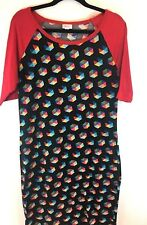 LuLaRoe LLR Women's Dress Stretch Blue, Red, Yellow Size 2XL (XXL)