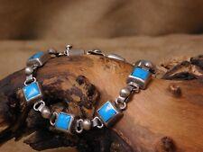 Vintage Sterling Silver Turquoise Mexican Link Bracelet