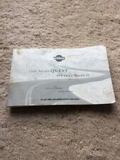 99 1999 Nissan Quest owners manual- Free Shipping!!