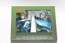 OFFICIAL NINTENDO LICENSED THE LEGEND OF ZELDA LINK SET OF 2 PINT GLASSES 16OZ