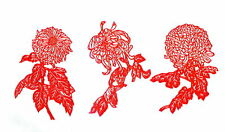 Paper Cuts Chrysanthemum Flower Set Red Color 6 small pieces 5 packets Lot