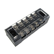 5 Position Screw Barrier Strip Terminal Block with Cover 15A Panel Mount