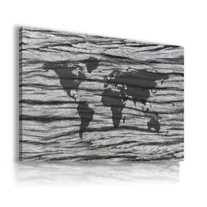 ABSTRACT WOOD PATTERN WORLD MAP CANVAS WALL ART PICTURE LARGE SIZES WS39 X