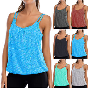 Women Fitness Sleeveless Pad Tank Tops Yoga Gym Sports Jogging Workout Bra Vest