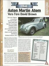 VOITURE ASTON MARTIN ATOM FICHE TECHNIQUE AUTO 1940 COLLECTION CAR