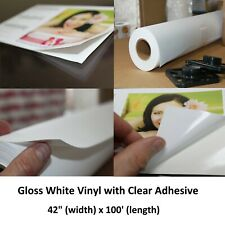 "Self Adhesive Glossy White Vinyl Water-Proof Dye Pigment Inkjet Roll 42"" x 100'"