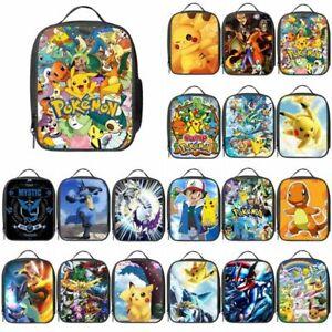 Kids Pokemon Pikachu Insulated Lunch Bag School Snack Picnic Box Travel Hand Bag