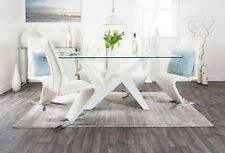 TORINO White Large High Gloss Glass Dining Table Set & 6 Leather Dining Chairs