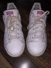 Adidas Stan Smith Tennis Shoes Women'S Size 4 White Fuscia Pink