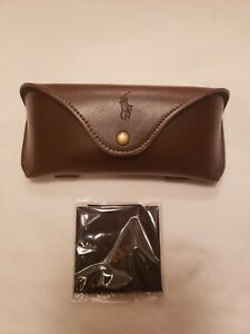 Polo Ralph Lauren Sunglasses Eyeglasses  Leather Case brown With Cloth Genuine