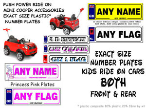 2 x PERSONALISED NUMBER PLATES  KIDS  MINI COOPER PUSH POWER RIDE -ON BUGGY CAR