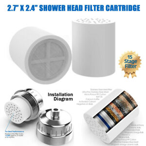 2*15-Stage Shower Head Water Filter Cartridge Replacement  Remove Chlorine Odor