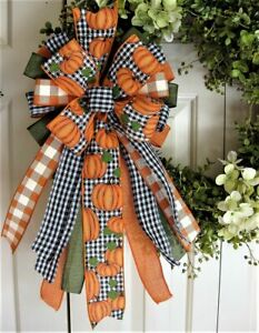 """10 """" FALL PUMPKIN / CHK BOW for DOOR WREATH SWAG GARLAND MAIL FENCE POST # 41 fl"""