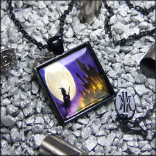 Gothic Witch & Moon Silhouette Haunted Mansion Glass Halloween Pendant Necklace