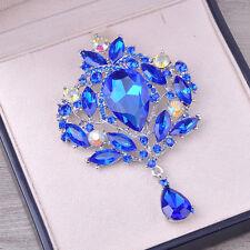 Blue Sapphire Wedding Bridal Big Crystal Rhinestone Bouquet Brooch Pin for Women