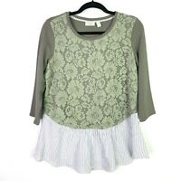 LOGO Lounge Knit Top Sz S Lace Front Woven Bottom green Blossom