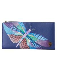 Anuschka Hand-Painted Clutch Wallet with RFID Protect Dancing Dragonflies NWT