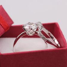 18K White Gold Filled Swarovski Crystal Engagement/Wedding Rings Sets Jewelry