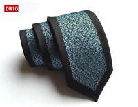 Bleu Noir Cravate à Motif Fait à la Main 100% Soie Skinny Cravate de Mariage 8cm